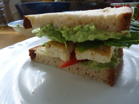 Ta-da!! My very first vegan, gluten free sandwich!