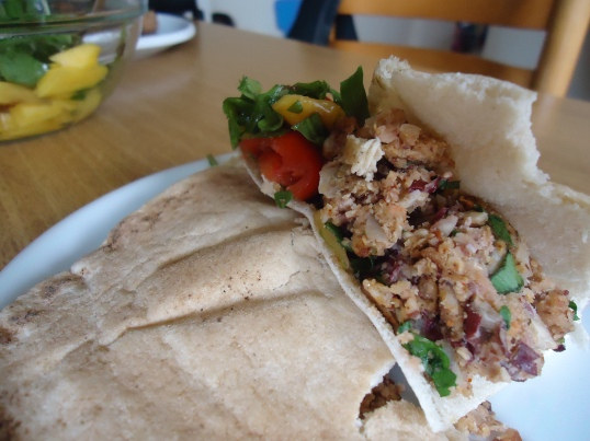 Veggie Burger Mango Salad Wrap - yum!