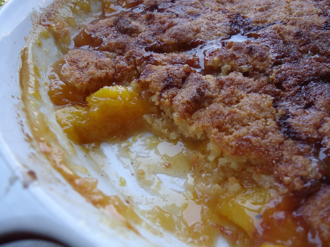 I'm trying really hard to let my peach cobbler cool off a bit